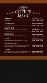 Coffee Video Menu Vertical Digital Display Template