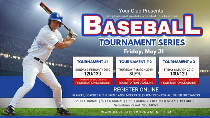 College Baseball Tournament Schedule Banner Ad