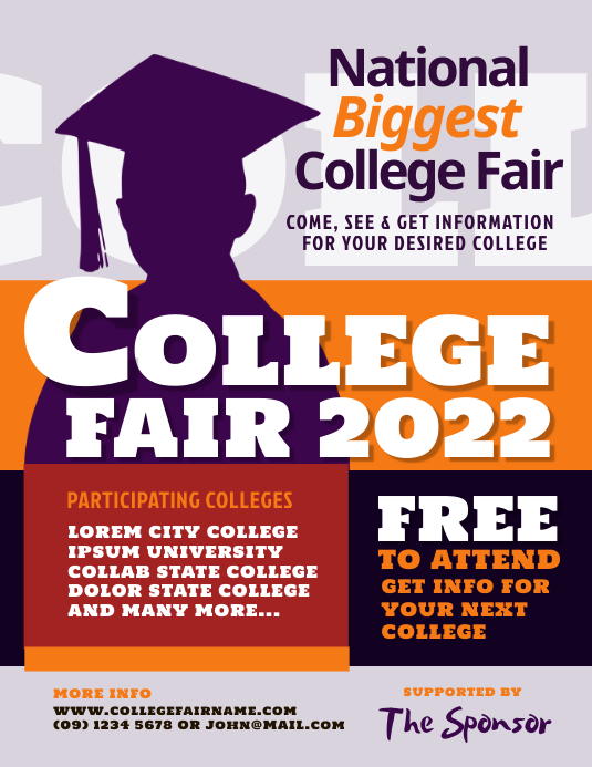college fair flyer template postermywall