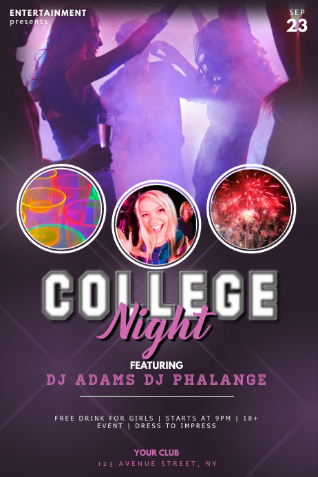 college night dance party flyer template postermywall