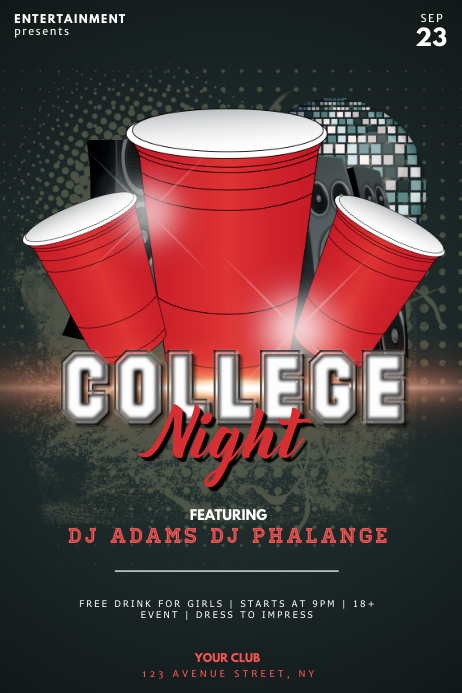 college night party flyer template postermywall