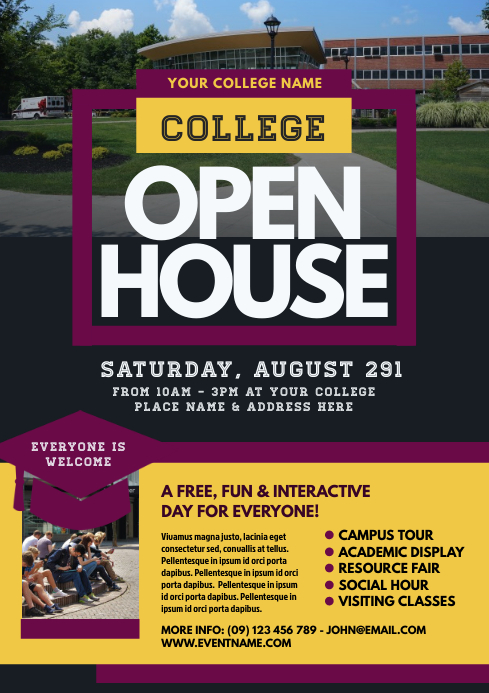 College Open House Flyer Template A4