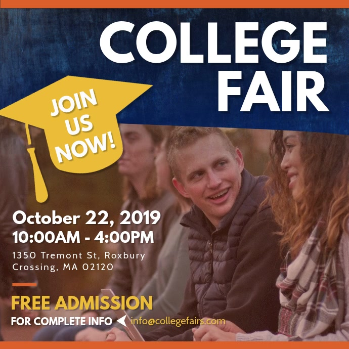 Colllege Fair Advertisement Square Video Vierkant (1:1) template