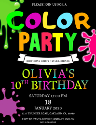 Color Birthday Party Invitation Template