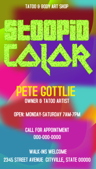 Color business card tattoo artist body art