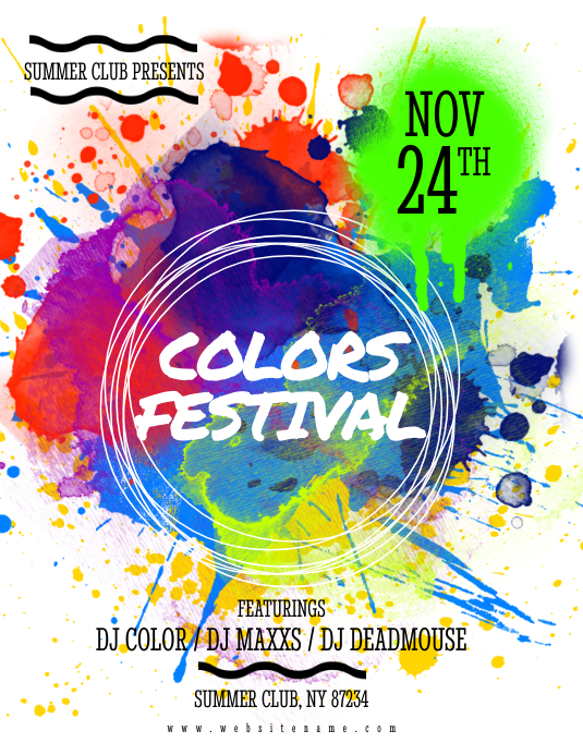 colors festival flyer template