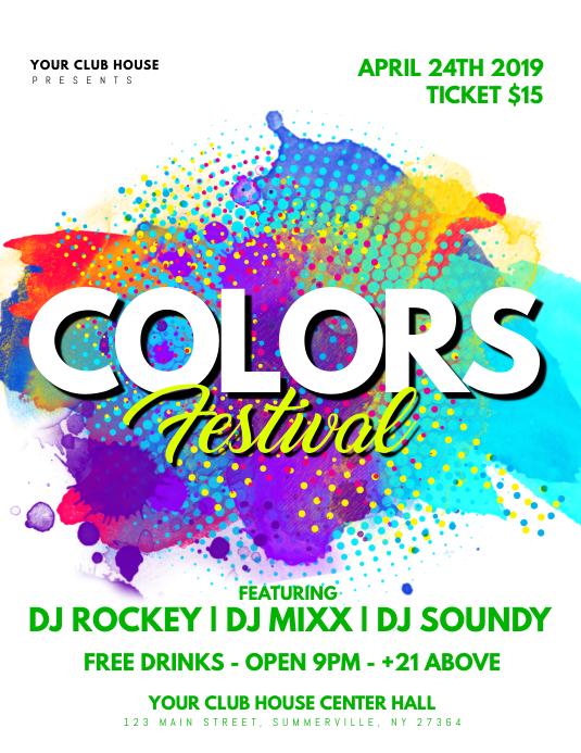 color festival flyer modelo postermywall