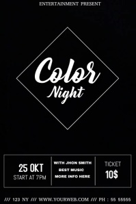 Color night event video flyer template Плакат