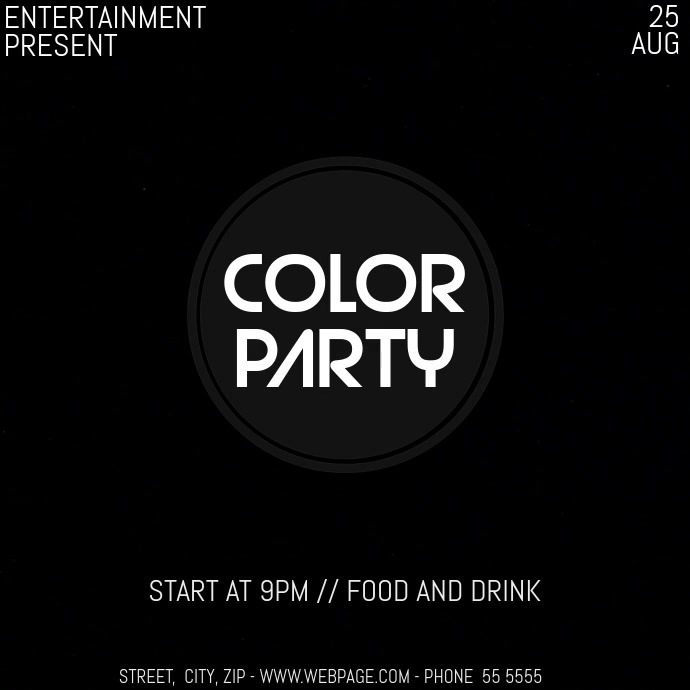 Color party event video flyer template