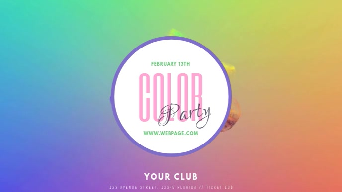 Color Party Facebook Cover Video Template