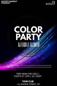 Color party flyer template