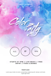 Color Party Flyer Template Poster