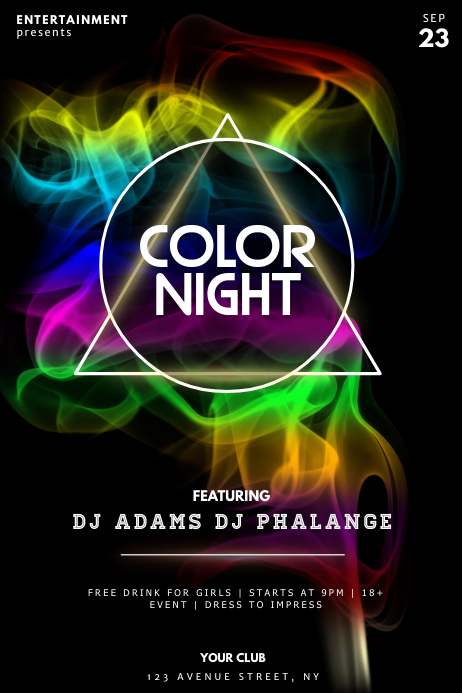 Color party night Flyer design template Plakat