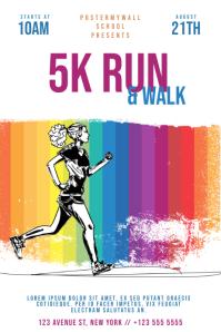 Color run 5k marathon flyer template