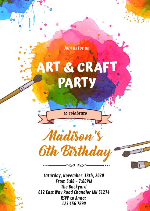 Color run art paint party theme invitation A6 template