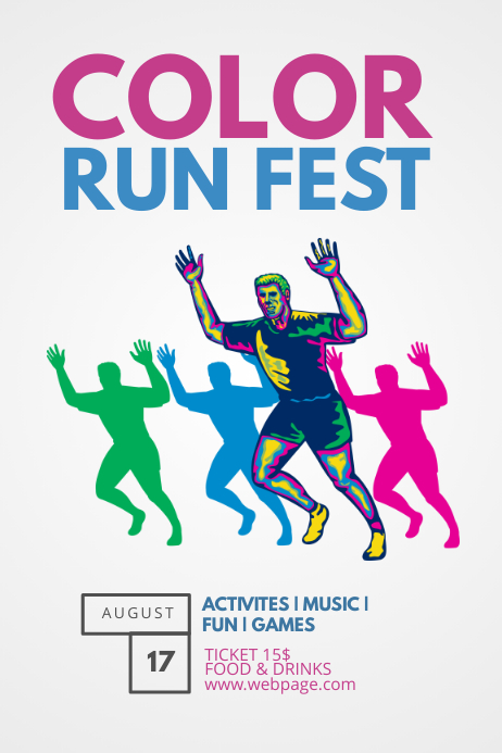 color run fest flyer template postermywall