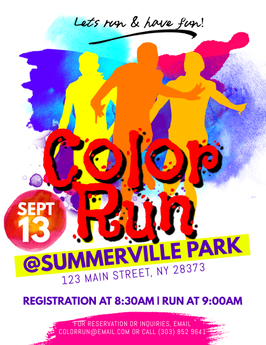 Color Run Flyer Template Postermywall