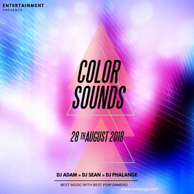 Color Sounds Video Party Template advertising