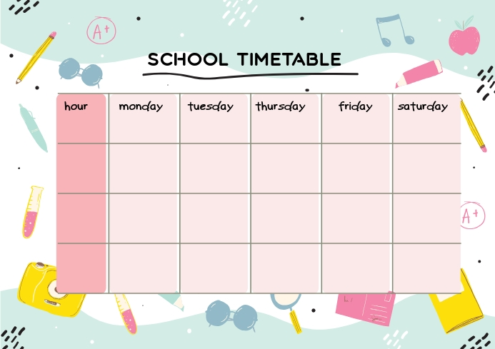 colored illustrations school timetable template