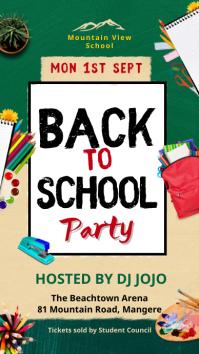 Colorful back to school party invite story Historia de Instagram template