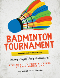 Colorful Badminton Flyer Template Volantino (US Letter)