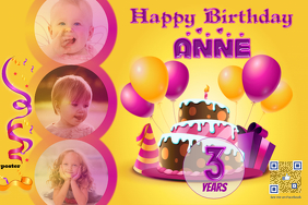 Colorful birthday card - PosterMyWall - With kids photos