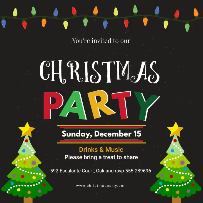 Colorful Christmas Party Social Media Invitat Instagram Post template