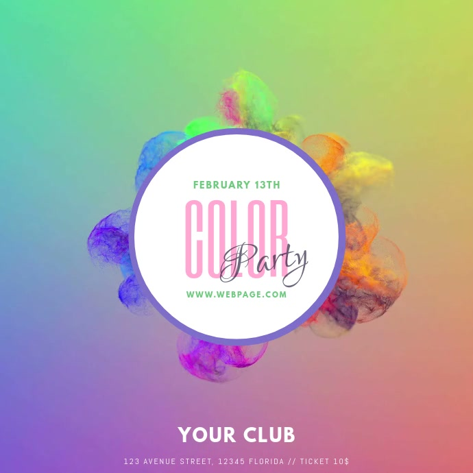 colorful color party video instagram post template - Color Template