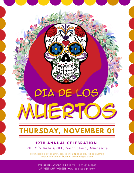 Colorful Dia de los Muertos Flyer Template Løbeseddel (US Letter)