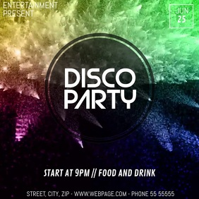 Colorful Disco party video flyer template