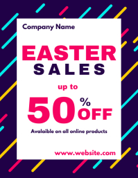 colorful easter sales flyer
