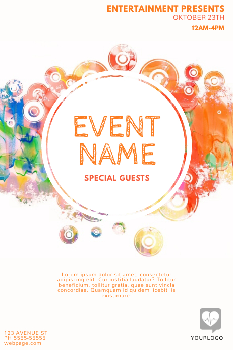 colorful event flyer template postermywall