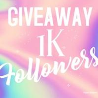 Colorful Holographic Giveaway Social Media Po Publicación de Instagram template