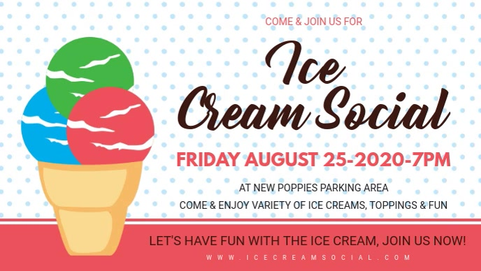 Colorful Ice Cream Social Facebook Cover Facebook-covervideo (16:9) template