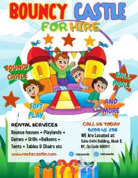 Colorful Kids Bouncy Castle Event Flyer Templ Pamflet (Letter AS) template