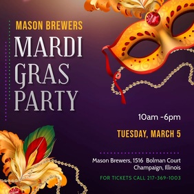 Colorful Mardi Gras Party Invitation Persegi (1:1) template