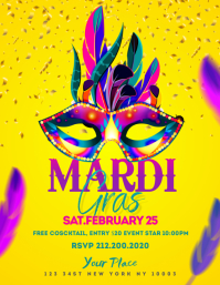 Colorful Mardi Gras Template Invitation Flyer (US Letter)