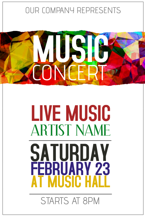 Colorful Music Concert Poster Template  Postermywall