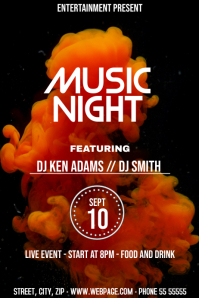 colorful music night event flyer template