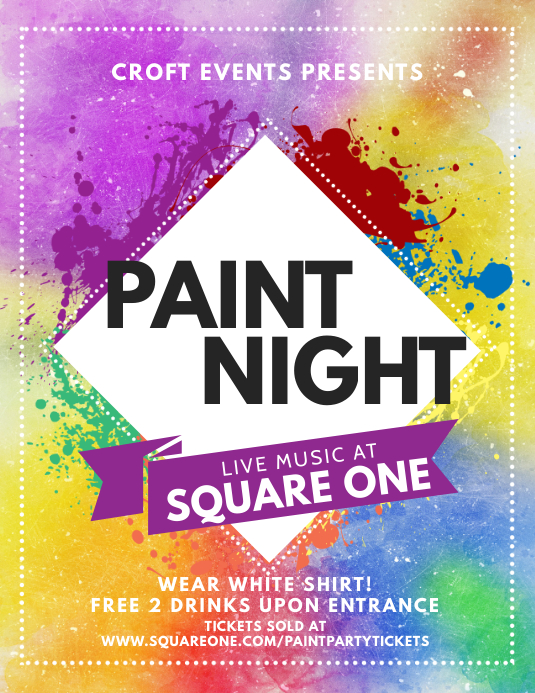 colorful paint party night flyer template postermywall