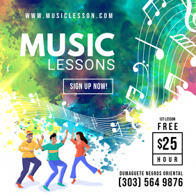 Colorful Private Music Lessons Class Ad Templ Publicação no Instagram template