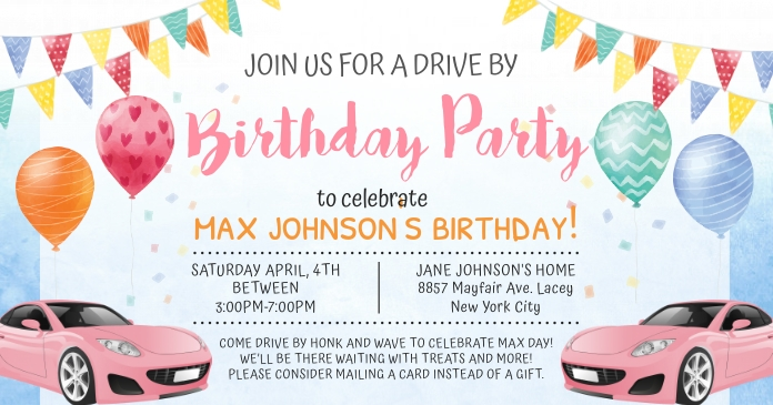 Colorful Quarantine Birthday Invitation Faceb Imagen Compartida en Facebook template