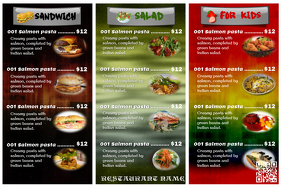 Colorful restaurant menu card