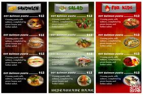 Colorful restaurant menu card Poster template