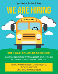 Colorful School Bus Driver Hiring Flyer Templ template