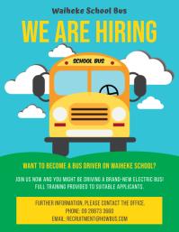 Colorful School Bus Driver Hiring Flyer Templ 传单(美国信函) template