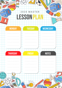 Colorful School Lesson Plan with Illustration A4 template