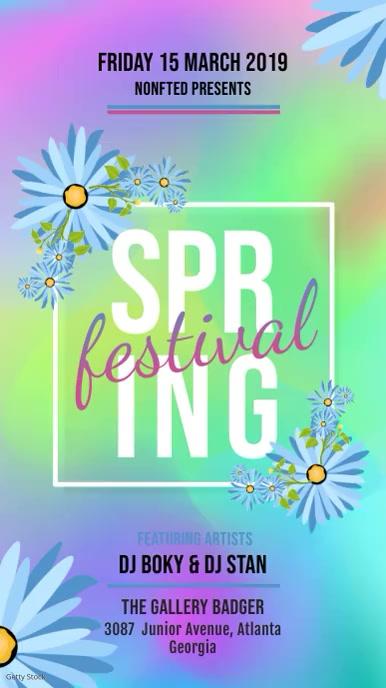 Colorful Spring Festival Invite Digital Display Template