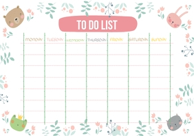Colorful To-do List Template with Illustratio