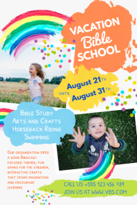 Colorful Vacation Bible School Poster Template